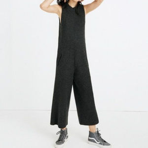 Madewell Charcoal Ribbed Sweater Jumpsuit
